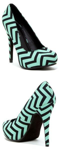 Mint Chevron Pump Shoes
