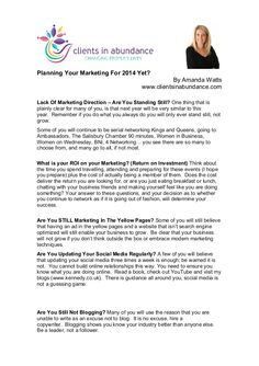Planning Your Marketing For 2014 Yet  by Amanda Watts via slideshare #health #wellness #fitness #marketing