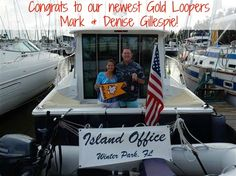 """Congratulations to Mark and Denise Gillespie, our newest Gold Loopers! They crossed their wake aboard their 37' Back Cove, """"Island Office,"""" on April 20, 2016."""