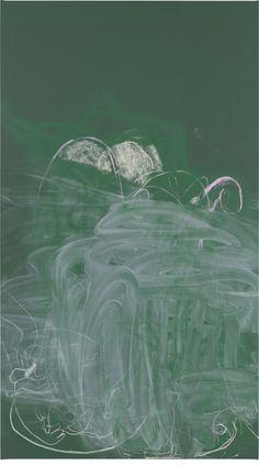 Rita Ackermann (Hungarian-American, b. 1968), Chalkboard Painting IV, 2013. Acrylic, spray paint and chalk on canvas, 198.1 x 111.8 cm.