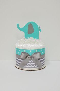 Aqua And Gray Chevron Elephant Mini Diaper Cake Baby Shower Centerpiece