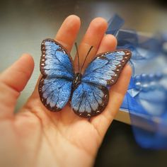 Blue butterfly embroidered brooch volume embroidery handmade embroidery gift for woman female gift embroidered butterfly brooch embroidery Embroidery Jewelry, Beaded Embroidery, Embroidery Patterns, Hand Embroidery, Butterfly Embroidery, Embroidered Butterflies, Art Textile, Fabric Birds, Beaded Brooch