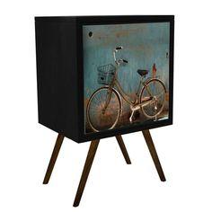 Buffet Retro 0119 Bicicleta 1 Porta Preto.  - MDF BP: - Impressão UV; - Acabamento em laca PU fosco.