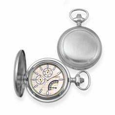 Bordered Satin Steel  Quartz Pocket Watch