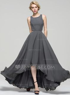 [R$ 311.51] Vestidos princesa/ Formato A Decote redondo Assimétrico tecido de seda Vestido de festa (017086896)