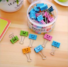 Wholesale 40pcs/box Zakka Candy Color promotion  kawaii novelty Smile DIY mini metal Dovetail clip.Binder clips.Purse.good nice. #Affiliate