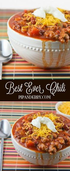 Best EVER chili! This is our favorite chili recipe of all time. We make this delicious soup multiple times every winter. Best EVER chili! This is our favorite chili recipe of all time. We make this delicious soup multiple times every winter. Best Chili Recipe Ever, Favorite Chili Recipe, Favorite Recipes, Best Chilli Ever, Recipe For Chili, Chili Recipe Pinto Beans, Winter Chili Recipe, Chili Con Carne, Gastronomia