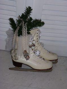 shabby chic - alte Schlittschuhe - weihnachtlich | eBay