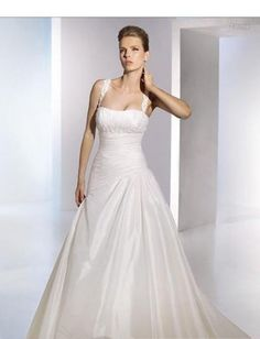 Ruched A line Skirt with Chapel Train Simple Custom Made Wedding Dress WD-0244