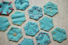 embroidered hexagons