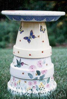 Painted Flower Pot Bird Baths | Projects, Tips & Creative Ideas