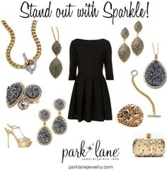 Stand out with Sparkle!  Park Lane Jewelry featured: Diamond Couture Necklace and Bracelet, Aspen Necklace, Bracelet, and Pierced Earrings, Sophistication Necklace and Pierced, and  Earrings, and Spike Ring