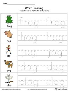 **FREE**Word Tracing: OG Words in Color. Encourage your child to start writing short words with the help of this fun word tracing printable worksheet. Handwriting Practice Worksheets, Alphabet Tracing Worksheets, Phonics Worksheets, Kindergarten Worksheets, Reading Worksheets, Number Worksheets, Homeschool Kindergarten, Alphabet Activities, Preschool Classroom