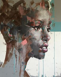 Jimmy Law painting style and technique is self-taught. As an artis Jimmy Law had a tendency to work in a very controlled and precise style. African American Art, African Art, Jimmy Law, Abstract Portrait Painting, Portrait Paintings, Abstract Art, Expressive Art, Art Plastique, Contemporary Paintings