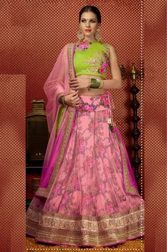 Net Semi Stitched A-Line Lehenga Choli In Baby Pink Colour