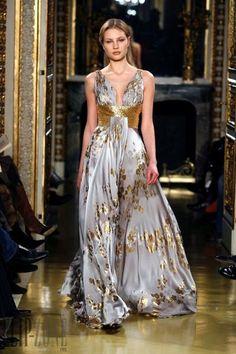 Backless Purple & Gold Floral Dress ZUHAIR MURAD