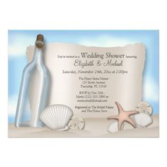 Message Bottle Couple's Beach Bridal Shower Cards