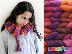 Hanukah Gift for Teen Girl , Christmas Gift For Her , Chunky Knit Infinity Scarf , Neck Warmer , Cowl Scarf , Neck Wrap , Pink Orange Scarf by HowDoYouDoIt on Etsy