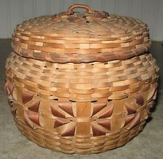 Antique Native American Penobscot Curl Woven Splint Sewing Basket with Interior Pin Cushion