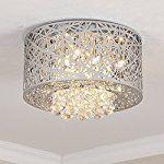 Saint Mossi Modern K9 Crystal Raindrop Chandelier Lighting Flush mount LED Ceiling Light Fixture Pendant Lamp for Dining Room Bathroom Bedroom Livingroom 8 E12 Bulbs Required W16.8 x H9.7