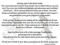 Sister Of The Bride Wedding Speech