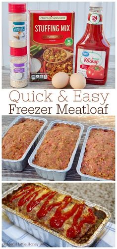Stock your freezer with this quick and easy freezer meatloaf that only requires It makes a simple freezer meal for busy weeknights. Your family will surely appreciate this comfort dish on a cold evening. Freezer Friendly Meals, Make Ahead Freezer Meals, Freezer Cooking, Quick Meals, Freezer Dinner, Easy Freezable Meals, Meal Prep Freezer, Meals To Freeze, Crockpot Freezer Meals