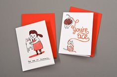 "Both of these cards were created for a collaborative group project called ""Love to Print"" and were produced and sold for Valentine's Day. The original hand-drawn images were scanned and imported into Adobe Photoshop to be prepared for printing on a Gocco printer.By Gemma Correll, Germany"