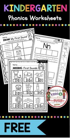 PHONICS worksheets and activities for kindergarten prek and preschool - print for FREE - teach initial sounds - beginning sounds in CVC words and letter sounds - great for phonemic awareness and phonological awareness - try FREEBIES and literacy center ideas