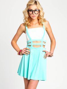 MINT LATTICE SUSPENDER SKIRT Love Culture. LOVE!