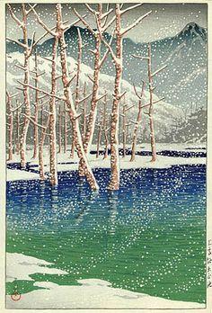 Taisho Pond, Kamikochi  by Kawase Hasui, 1927  (published by Bijutsusha)