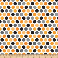 Riley Blake Halloween Parade Halloween Dot Orange from @fabricdotcom  Designed by Doodlebug Design for Riley Blake Designs, this fabric is perfect for quilting, apparel and home decor accents. Colors include white, grey, orange and black.