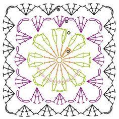 Pastilla cuadrada tejida a crochet en varios colores de lana