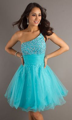 One Shoulder Turquoise Short Dress--i really like this dress, but not so sure about all of the puffiness in the bottom.