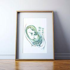 Anatomía fetal acuarela impresión impresión del arte por LyonRoad