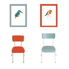 Lovely chairs by the french label Les Gambettes. Colette chair, little Suzie chair and the square birds by Roosmarijn Knijnenburg.