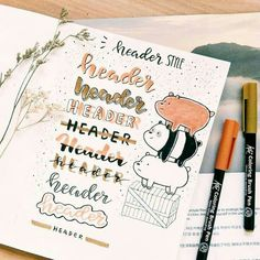 Bullet Journal Layout and Bullet Journal Inspiration Bullet Journal Planner, Bullet Journal Headers, Bullet Journal Font, Journal Fonts, Bullet Journal Aesthetic, Bullet Journal Ideas Pages, Bullet Journal Spread, Journal Layout, Bullet Journal Inspiration