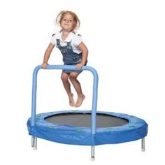 """Bazoongi 48"""" Bouncer Trampoline with Handle Bar. GODALIMIGHTY, we need this."""