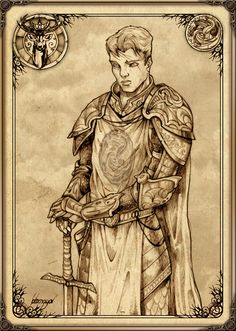"""Orys Baratheon by Feliche. """"[House Baratheon's] founder, Orys Baratheon, was rumored to be Aegon the Dragon's bastard brother. Orys rose through the ranks to become one of Aegon's fiercest commanders. When he defeated and slew Argilac the Arrogant, the last Storm King, Aegon rewarded him with Argilac's castle, lands, and daughter. Orys took the girl to bride, and adopted the banner, honors, and words of her line."""""""