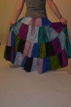 Gypsy Hippie Patchwork Long Tiered Prairie Skirt by Linarain