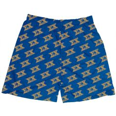 Blue soft cotton jersey boxer shorts with a Sigma Chi all over gold imprint. Our comfy no-fly boxers can be worn as traditional underwear or as shorts for lounging around the house. Sizes, S (28-30), M (32-34), L (36-38), XL (40-42)