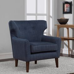 Mid-century Blue Linen Wing Chair - Overstock™ Shopping - Great Deals on Living Room Chairs