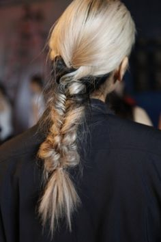 Haute Hairstyles That Rocked The 2013 Runway: Bi-color braids at Kimberly Ovitz gave us pause, mostly because of the Daphne Guinness effect, but also partly for the cool, pulled-apart knot towards the tip, which adds some extra interest to an otherwise typical plait.