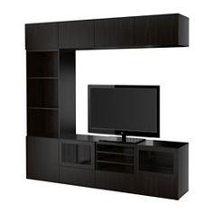 IKEA - BESTÅ, Ansamblu depozitare TV/uşi sticlă, Lappviken/Sindvik sticlă negru-maro, sertar deschidere apăsare, , Sertarul şi uşile au funcţie integrată de deschidere prin apăsare. Nu sunt necesare mânere sau butoni; deschide cu o atingere uşoară.Panoul superior din sticlă securizată protejează blatul comodei TV și îi conferă un aspect lucios.Această combinaţie TV de depozitare are mult spaţiu de depozitare; este uşor să păstrezi camera de zi ordonată.Folosești la maximum spațiul de pe…