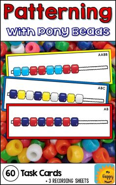 Pony Beads Pattern Task Cards These pony beads patterning task cards are great for fine motor and patterns practice! Use with pipe cleaners or laces in preschool and kindergarten. Such an easy to set up center! Patterning Kindergarten, Kindergarten Centers, Teaching Math, Math Centers, Preschool Activities, Grade 2 Patterning Activities, Activities For Autistic Children, Fine Motor Activities For Kids, Preschool Colors