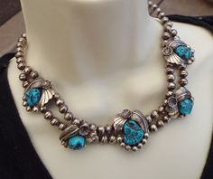 Handmade Navajo Squash Necklace With Morenci Turquoise Stations!