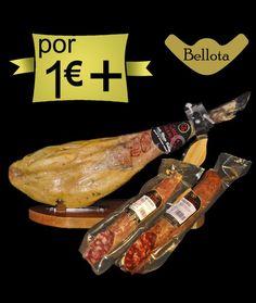 Por 1,00€ más 1 #jamón #ibérico de #bellota, 1/2 #chorizo #ibérico de #bellota y 1/2 #salchichón 3ibérico de #bellota. Mira el precio.  http://www.jamonibericosalamanca.es/es/promocion