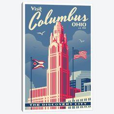 Columbus Ohio, Vintage Wall Art, Vintage Ads, Vintage Style, Vintage Signs, Voyage Usa, Columbus Travel, Tourism Poster, Travel