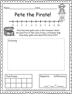 FREEBIE! (5 pages) Subtraction Word Problem! (number line, ten frame, drawing, and equation) kindergarten and first grade math