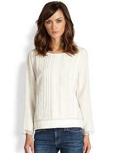 oie  Jessette Silk Lace-Trimmed Pintucked Blouse ++ saks