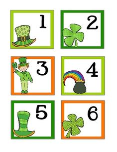 Counting & Number recognition activities: FREE March-themed calendar cards. Could use them for games, counting & sequencing too.